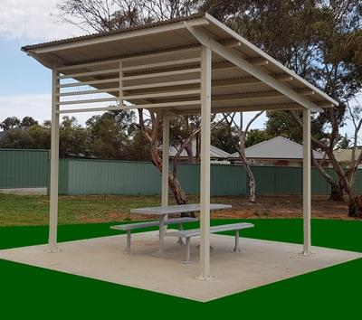 aluminium park shelter skillion roof