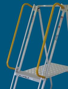 Yellow powder coated handrails are an optional extra for ALLWELD folding platform