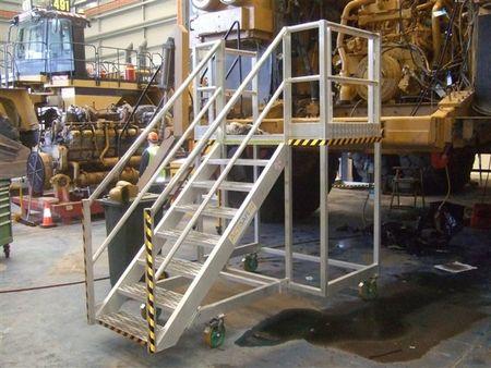 Stair access, aluminium walkway mesh steps and platform, safety boom gate - Allweld  truck access ladders