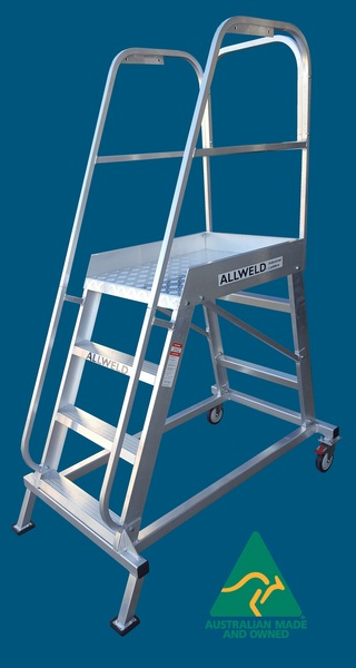EMOP4 Easy Move Order Picker 4 step aluminium welded ladder from Allweld Australian Made
