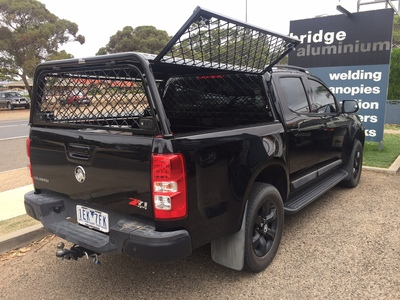 Black powder coated dog cage for ute